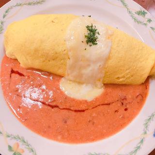 蟹トマトクリームオムライス
