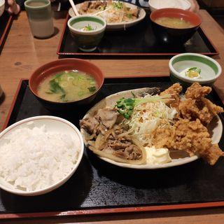 唐揚げ&豚肩ロース生姜焼き定食