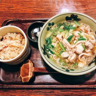 鶏なん蕎麦とかやく飯(伊吹そば )