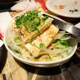 蒸し鶏と豆腐の胡麻サラダ(豊後高田どり酒場 中目黒駅前店)