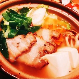 自家製燻製豚とお野菜のごった煮