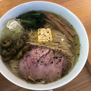 黒胡椒バター塩そば+ハラペーニョトッピング(自家製麺と定食 弦乃月)