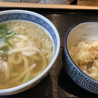 月見うどん・穴子天ぷら(手打ちうどん叶屋)