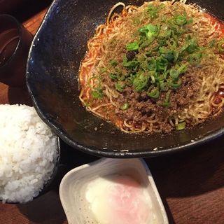 汁なし坦坦麺4辛大盛 温泉玉子 ライス(キング軒 東京店 )