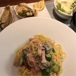 牡蠣とベーコン、オクラのペペロンチーノ