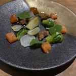 道内産 鮭の塩麹漬け ウドとユリネの梅酢ピクルスと自家製有機味噌
