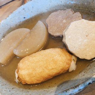 大根、すじ魚、餃子巻き(二毛作)