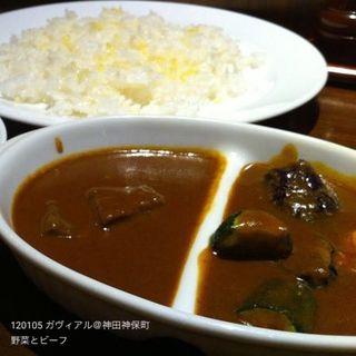 野菜カレー+ビーフカレー