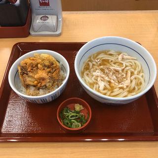 蒸鷄と生姜の京風あんかけうどんとミニ海鮮かき揚げ丼セット(なか卯 祖師ヶ谷大蔵店 )