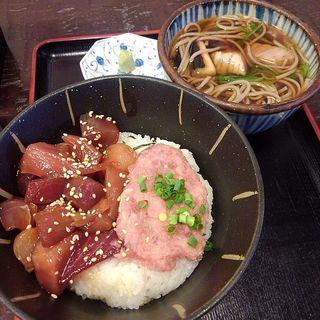 ねぎま蕎麦とまかない丼セットA(北かつ まぐろ屋 )