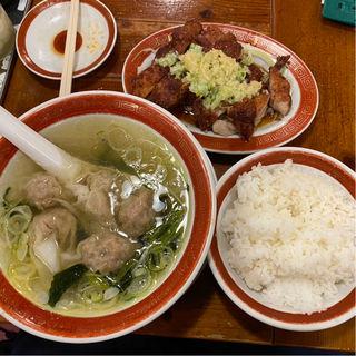 油淋鶏雲呑麺定食