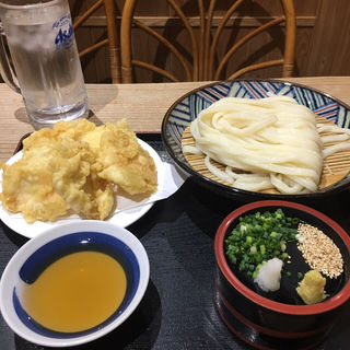 鶏天ざるうどん(麺むすび )