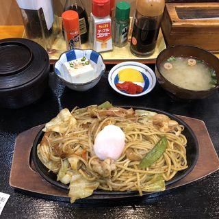鉄板焼きそば定食 カレー味(一二三味処 )