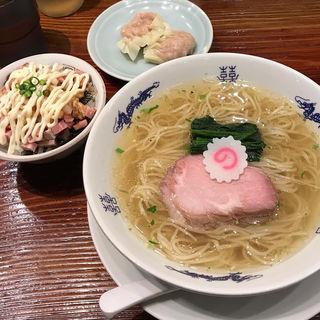 山椒そば 肉ワンタン マヨチャーシューご飯(中華蕎麦 にし乃)