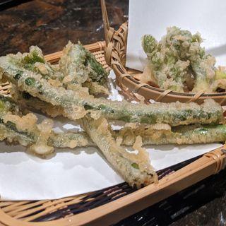 たらの芽、こごみ天ぷら(魚の田が肉)