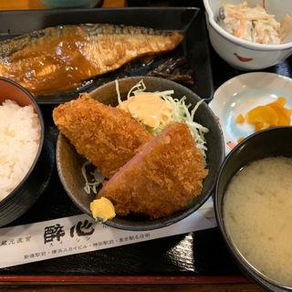 サバ味噌、ハムカツ(酔心酒蔵 (すいしんさかぐら))