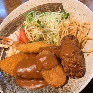 ミックスフライ定食(信濃庵)