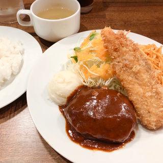 ハンバーグ・デミグラスソース&鶏ささみ梅しそフライ(路地ダイニング こめり)