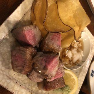 富良野牛のステーキ(さっぽろ酒呑 純情)