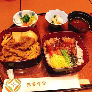 二段重<百年牛丼・ステーキ丼> (一日限定20名様)(浅草今半 国際通り本店)