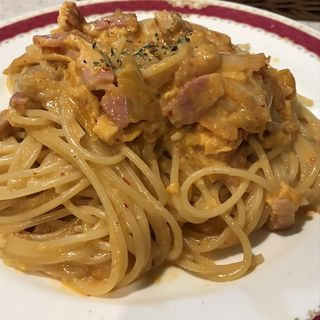 ベーコンとタマゴとキムチのスパゲッティ