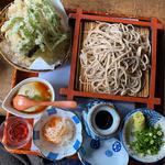そばづくし(ざるそば・おろしそば又はかけそば・舞茸の天ぷら・季節の小鉢・食前酒・そばアイスクリームの