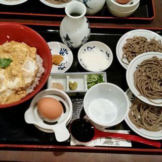 皿そばと親子丼のセット(皿そば文楽 奈良東向通店)