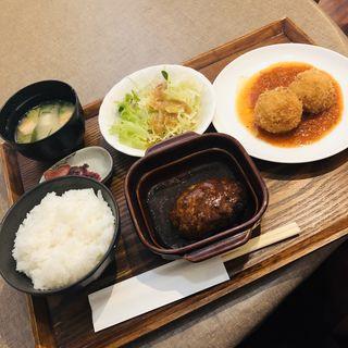 ハンバーグ&ズワイガニのクリームコロッケ(金閣寺 いただき (【旧店名】いただきsecond))