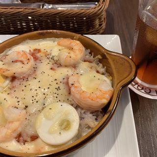 エビドリア、ハーフサイズクリームパンケーキセット(高倉町珈琲 勝田台店)