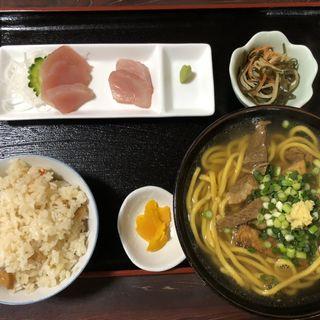 そば 中 定食セット(ジューシー 刺身 小鉢)(のりば食堂 (石垣島/食堂))