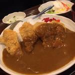 カツカレーライスとポテトサラダ定食