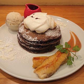 チョコバナナパンケーキ(パンケーキママカフェ VoiVoi (ヴォイヴォイ))