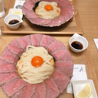 肉釜玉うどん(マルヨシ製麺所)