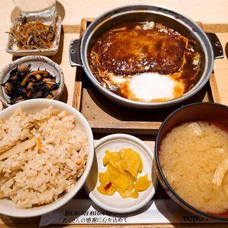 ふっくら煮込みハンバーグ定食(筍ごはん)(さち福や 天王寺ミオプラザ館店 )