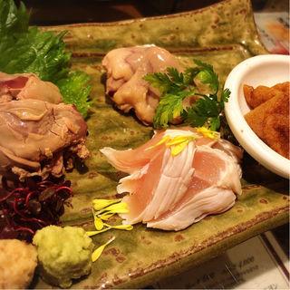 鶏造り三種盛り(WA鶏BAR 本店 (ワトリバー))