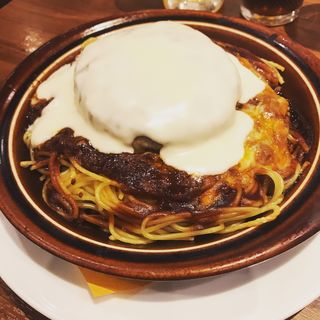 チーズonハンバーグスパゲッティのオーブン焼き
