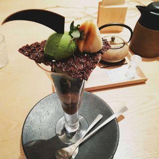 焙じ和栗丸 コーヒー・紅茶・日本茶付き(茶庭 然花抄院 渋谷ヒカリエ ShinQs店 (ぜんかしょういん))