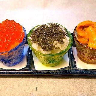 いくら、キャビア、ウニのおちょこ丼(十番右京 恵比寿)