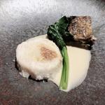 白身魚のファルシ 茄子とキノコのグラチネ ソース・ヴァン・ブラン