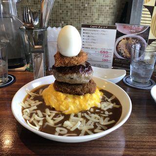 オムチーズ&ハンバーグ&コロッケ&ゆで卵(じゃらん食堂)