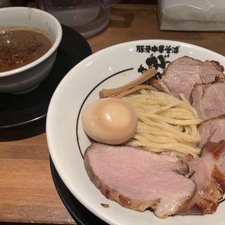 つけ麺(200g)(半熟味玉)(肉増し)(豚骨中華そば がんたれ)