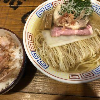 京小麦の収穫祭2020'京小麦の二色麺本枯節追い鰹の塩ラーメン'¥950+'山下さんのごはんセット朝削りたて鰹節たっぷりTKG'(麺屋ソミーズ)