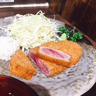 牛かつ麦飯とろろセット(牛かつもと村 西新宿店)
