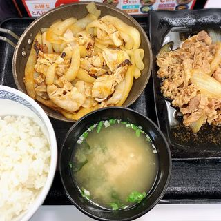 牛皿・豚生姜焼き定食