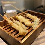 天ぷら盛り合わせ五種(海老、ししゃも、イカ、オクラ、ヤングコーン)