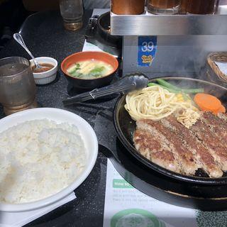100%ビーフ肉塊ハンバーグ(ペッパーランチ 横浜天理ビル店 (Pepper Lunch))