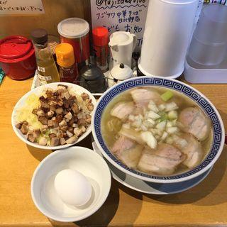 中華そば塩 と焼豚めし 小