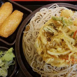 ざるそば+かき揚げ+いなり寿司(ゆで太郎 六番町店 (ゆでたろう))
