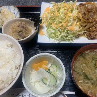 生姜焼き定食(いずる庵)