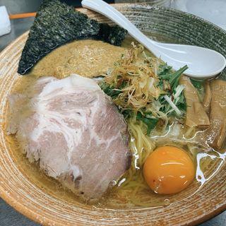 渡り蟹の塩ラーメン、ムールソース、生卵(覆麺 智 (ふくめん とも【旧店名】覆麺))